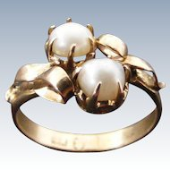 Antique Natural Pearl Cross Over Dress Ring, 18 k Light Rose Gold