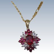 Vintage Synthetic Ruby and Baguette Diamond Pendant