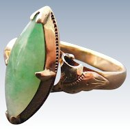 Antique Jade Marquise Ring, 14 k Rose Gold