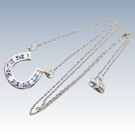 Vintage Horse Shoe Necklace Pendant with Blue and White Zircons, 14 k Yellow Gold
