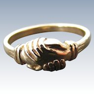 Antique Victorian Fede or Betrothal Ring