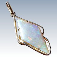 Large Australian Solid Crystal Opal Pendant, 18 k Gold
