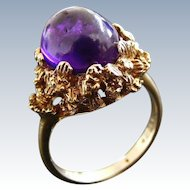 British Mid Century Cabochon Amethyst Dress Ring, London 1970.