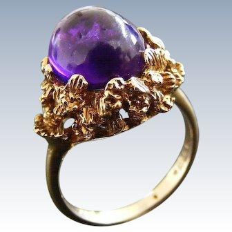 British Mid Century Cabochon Amethyst Dress Ring, London 1970.