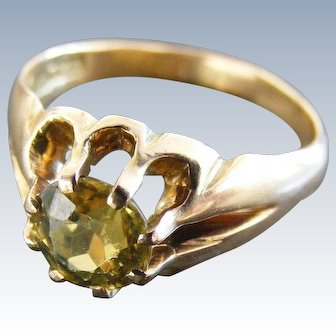 Vintage Australian Natural Yellow Sapphire 15k Rose Gold