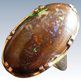 Large Antique Australian Boulder Opal Ring