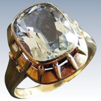 Art Deco Aquamarine Ring, with 14 k Gold