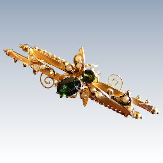 Australian Colonial Bee Brooch, Green Tourmaline Seed Pearl 15 k Gold