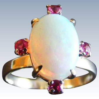 Mid Century Solid Australian Opal and Ruby Ring