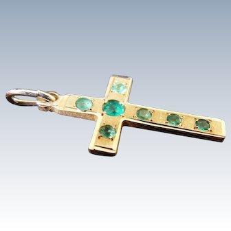 Vintage Russian Cross Pendant Demantoid Garnets 14 k Gold