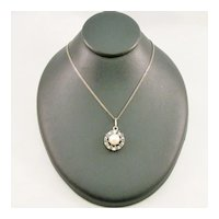 Sapphire and Cultured Pearl Pendant
