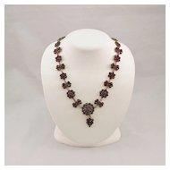 Antique Bohemian Rose Cut Garnet Necklace
