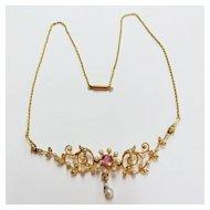 Ladies Floral Seed Pearl Necklace