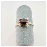 Vintage Ladies Garnet and Diamond Ring