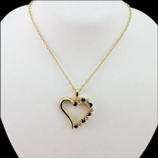 Estate Asymmetrical Heart Sapphire Pendant
