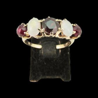 Vintage Ladies Garnet and Opal Ring