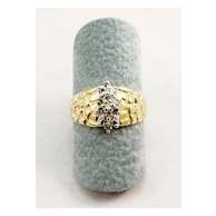 14 Karat Gold Nugget Style and Diamond Estate Ring