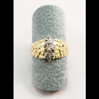 14 Karat Gold Nugget Style and Diamond Estate Ring