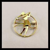 Vintage Ladies Golfer Circle Pin