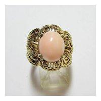Angelskin Coral Filagree Ring