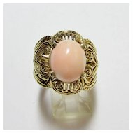 Angelskin Coral Filagree Ring