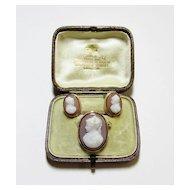 Onyx Sardonyx Cameo Brooch and Earring Set
