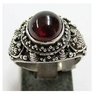 Ladies Estate Ornate Garnet Ring