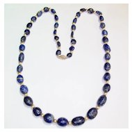 Blue Lapis and Gold Bead Necklace