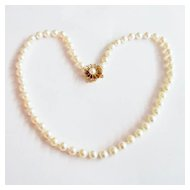 Cultured Pearl Necklace With Floral Gold Clasp