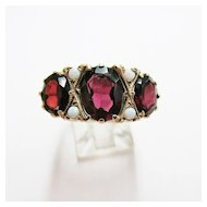 Ladies Estate Garnet and Opal Ring