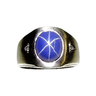 Men's Vintage Linde Star Sapphire With Diamonds Ring