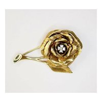 Vintage Gold Flower Pin with Diamonds