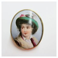 Estate Hand Painted Porcelain Brooch