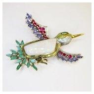 Vintage Opal Gemstone Hummingbird Brooch