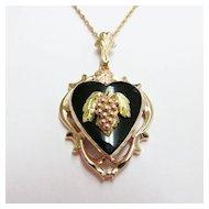 Estate Tricolor Black Hills Heart Motif Pendant