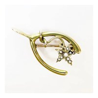 Vintage Wishbone Pin with Seed Pearl Flower