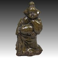 Japanese Antique Tanba-yaki 丹波焼き Okimono or Statue of Okame or Otafuku