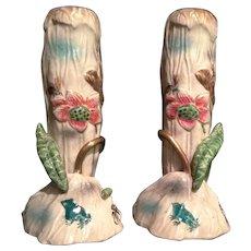 Japanese Antique Rare Pair Awata 粟田 Kyo-yaki 京焼き Kinkozan 錦光山 Unusual Signed Vases