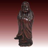 Japanese Antique Bizen 旧備前 Ware Pottery Okimono or Statue of Bodhidharma, Dharma, Daruma