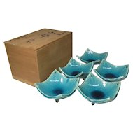 Japanese Vintage Kyoto Pottery Set of Five Aqua Glazed Kobachi Bowls by Master Potter Kaho Heian