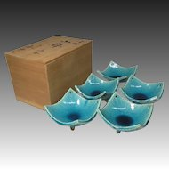 Japanese Vintage Kyoto Pottery Set of Five Aqua Glazed Kobachi Bowls by Master Potter Kaho Heian