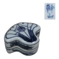 An Unusual Japanese Kyoto Ware Porcelain Kogo or Box of a Ginkgo Tree Famous Denshichi Kato Kanzan V