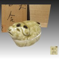 Japanese Vintage Kyoto Ware Pottery of a Kogo or case of a Puppy