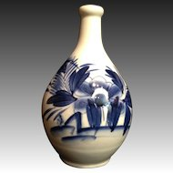 Old Japanese Vintage Large Imari 伊万里  Porcelain Rakyou Style Sake Bottle with Peony and Butterflies