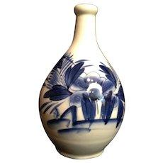 Old Japanese Vintage Large Imari 伊万里  Porcelain Rakyou Style Sake Bottle with Peony and Butterflies