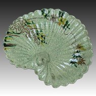 Japanese Antique Raku-yaki 楽焼  Midori Lotus Leaf Relief Dish
