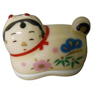 Japanese Kyoto Ware Pottery Kogo or Lidded Ornament Box of Inu Puppy