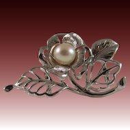 Rare Japanese Vintage Sterling Silver Obidome or Obi Sash Cord Akoya Cultured Pearl w Silk Obijime Cord for Kimono
