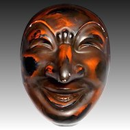 Japanese Vintage Pottery Decorative Noh 能楽 & Kagura Mask of Chikyu 地球