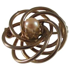 Vintage Faux Pearl and Silver Brooch or Pin Atomic Design